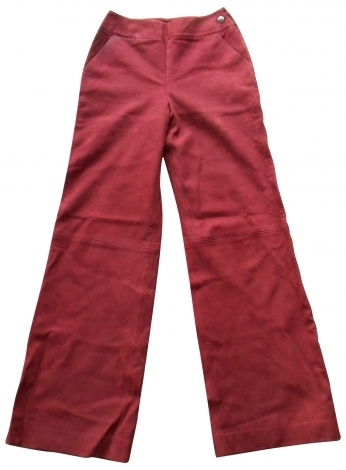 PANTALON agneau bordeaux, T36, Chanel
